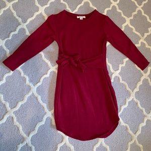 Burgundy 3/4 length sleeve dress